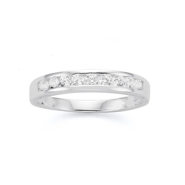 Sterling Silver Cubic Zirconia Channel Set Ring