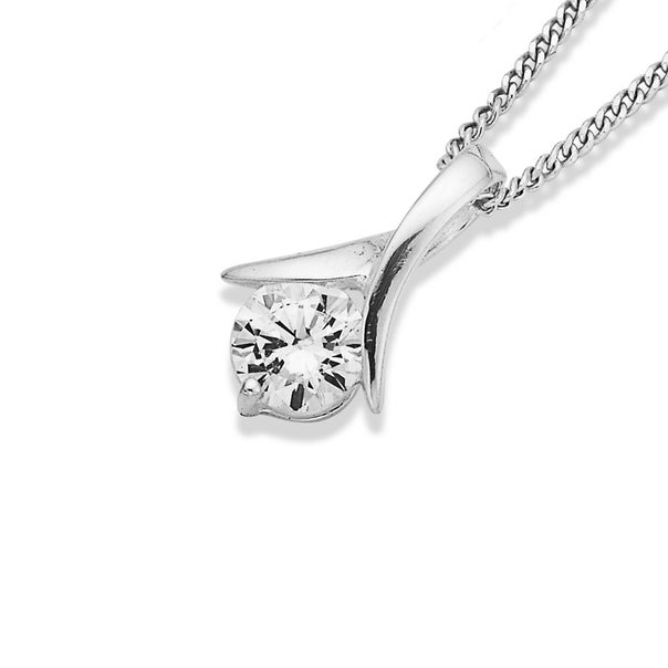 Sterling Silver Cubic Zirconia Crossover Pendant