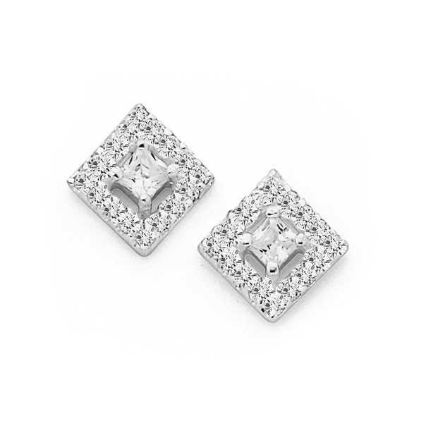 Sterling Silver Cubic Zirconia Square Fancy Studs