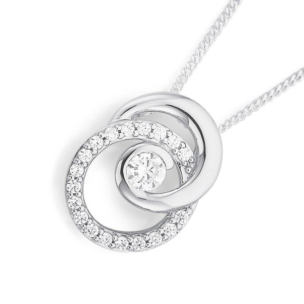 Sterling Silver CZ and Plain Entwined Circle Pendant