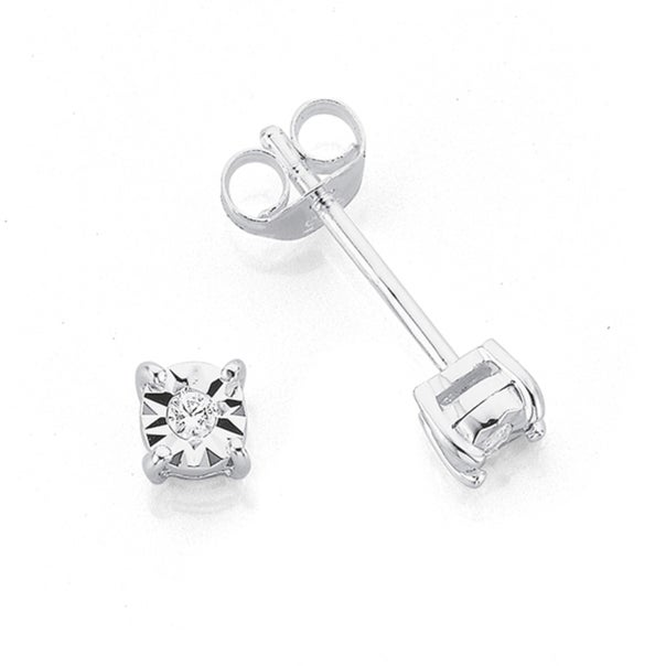 Sterling Silver CZ Illusion Stud Earrings 4mm