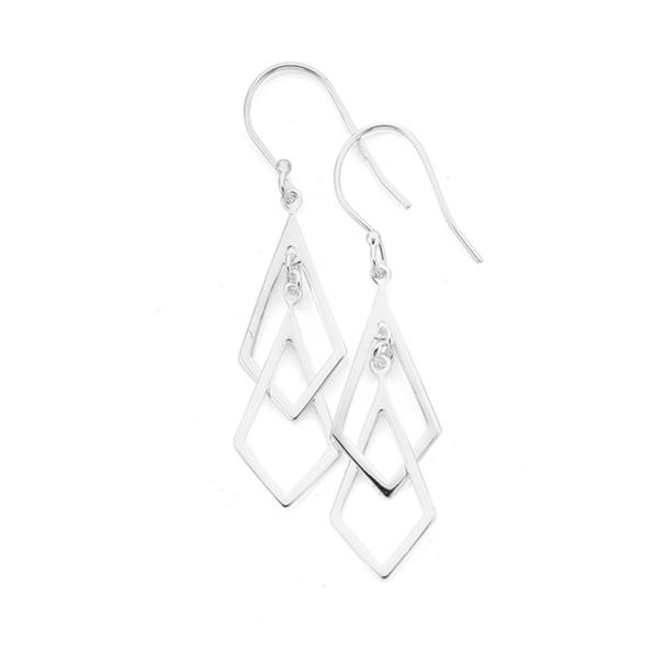 Sterling Silver Double Diamond Shape Drop Hook Earrings