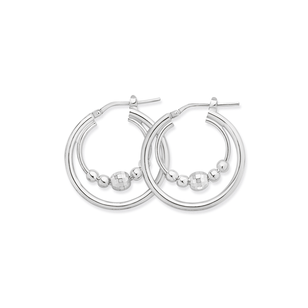 Sterling Silver Double Hoop Face and Plain Ball Earrings