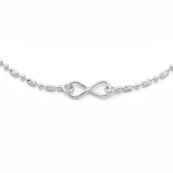 Sterling Silver Fancy Oval Twist Bead Infinity Bracelet