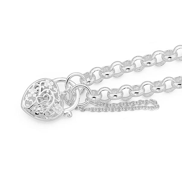 Sterling Silver Filigree Belcher Padlock Bracelet