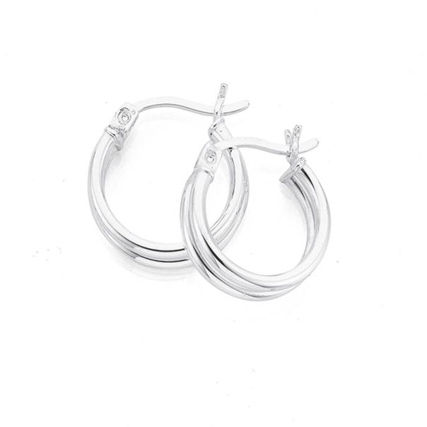 Sterling Silver Fine 15mm Double Hoop Earrings