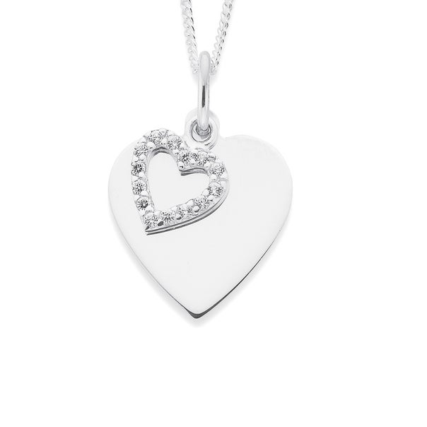 Sterling Silver Heart Disc and Cubic Zirconia Heart Pendant