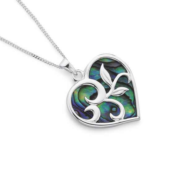 Sterling Silver Heart with Leaves Pendant