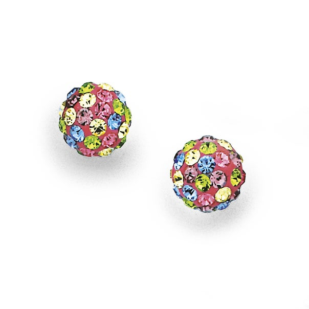Sterling Silver Multi Colour Crystal Ball Studs