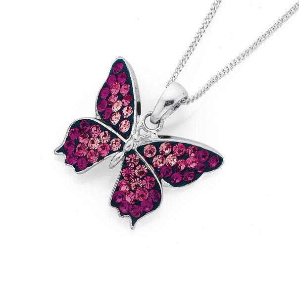 Sterling Silver Multi Pink Crystal Butterfly Pendant