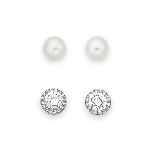 Sterling Silver Pearl and CZ Cluster Earrings