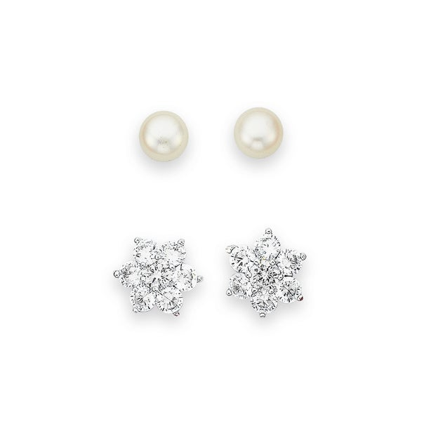Sterling Silver Pearl and CZ Star Earrings