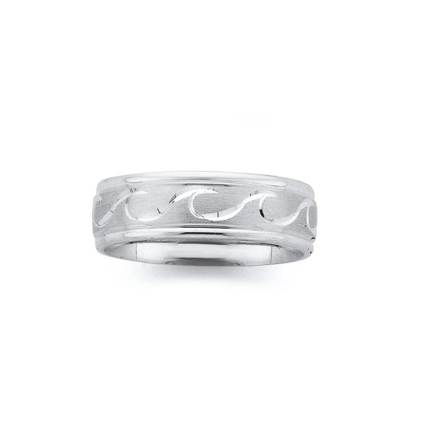 Sterling Silver Satin Wave Ring