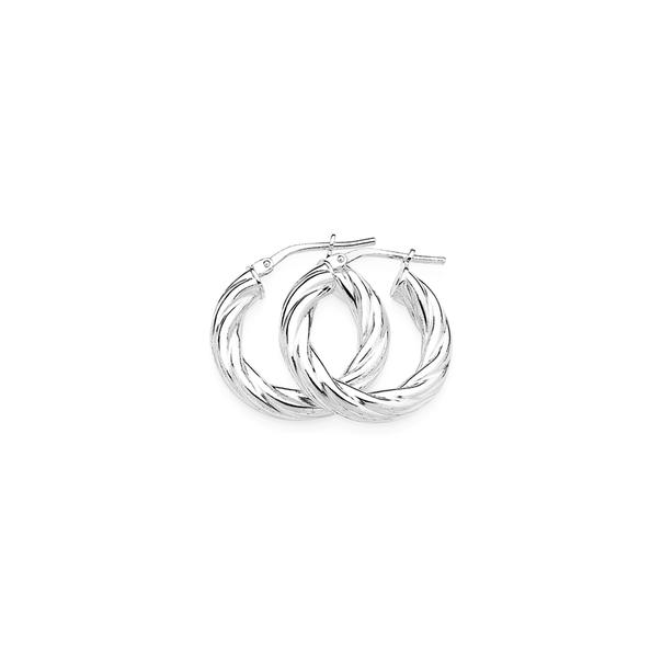 Sterling Silver Twist Hoops 12mm