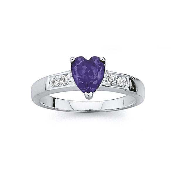 Sterling Silver Violet Cubic Zirconia Heart Ring
