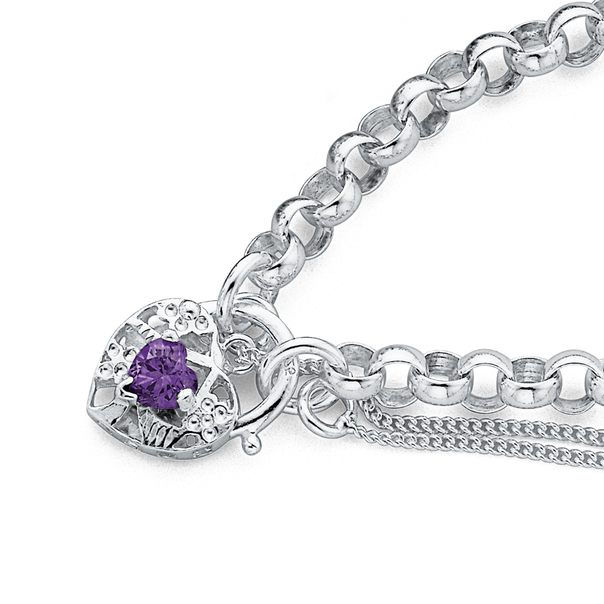 Sterling Silver Violet Cubic Zirconia Padlock Bracelet