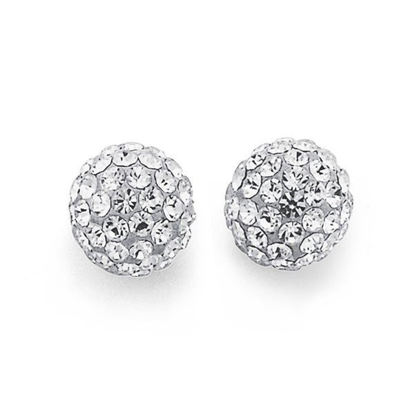 Sterling Silver White Crystal Ball Studs