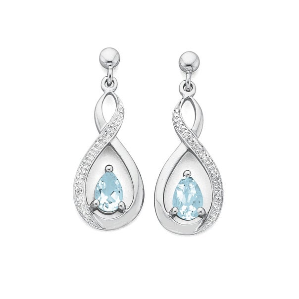 White Gold Aquamarine & Diamond Earrings