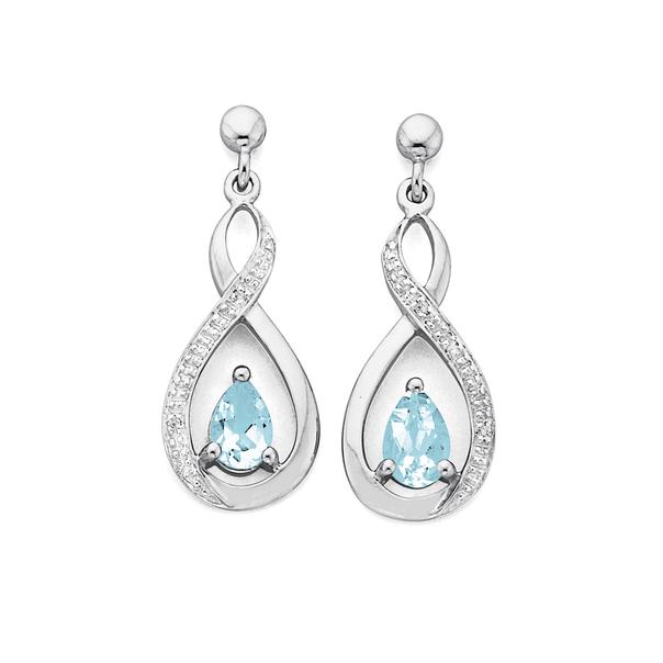 White Gold Aquamarine & Diamond Earrings